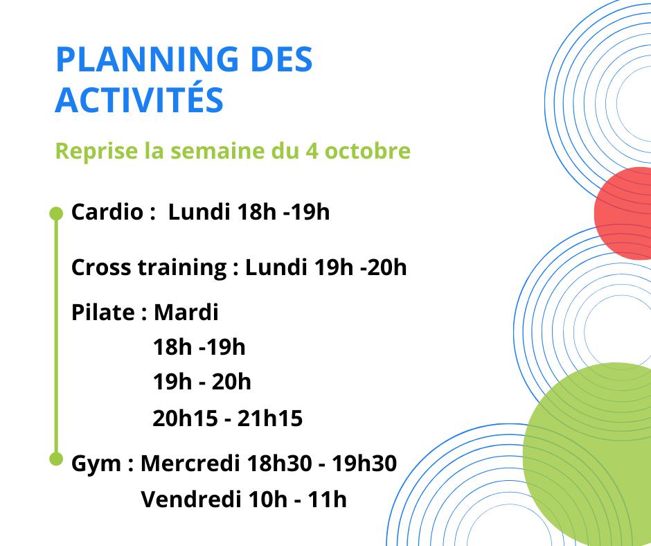 Planning des activités VAL 2021/2022